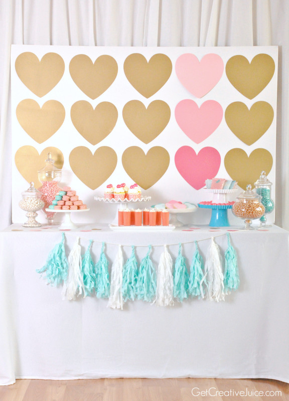 Hearts and Macarons - Girly Dessert Table