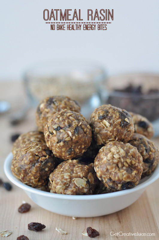 Oatmeal Rasin No bake healthy energy bites
