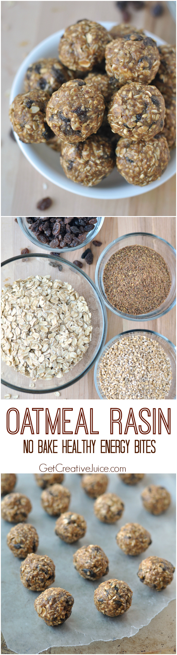 Oatmeal raisin no bake healthy energy bite snacks