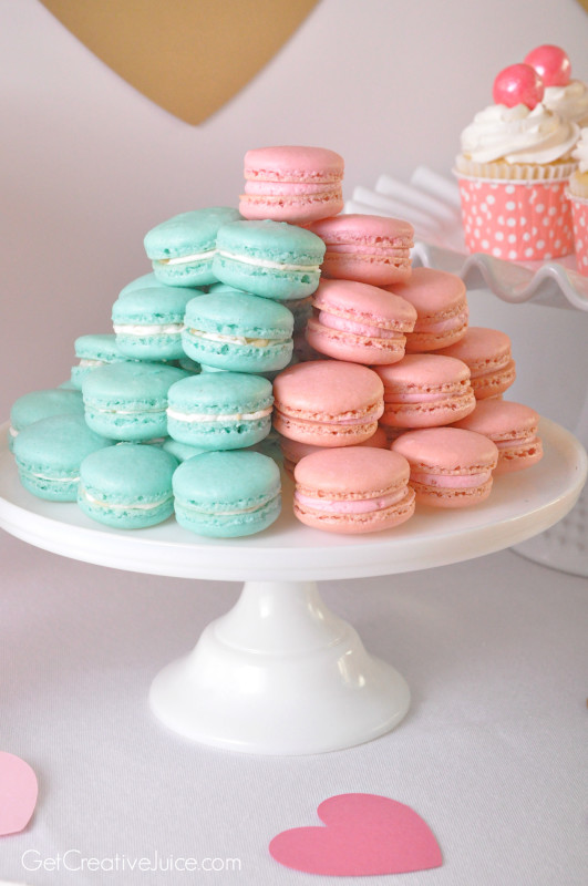 Pink and Blue French Macarons