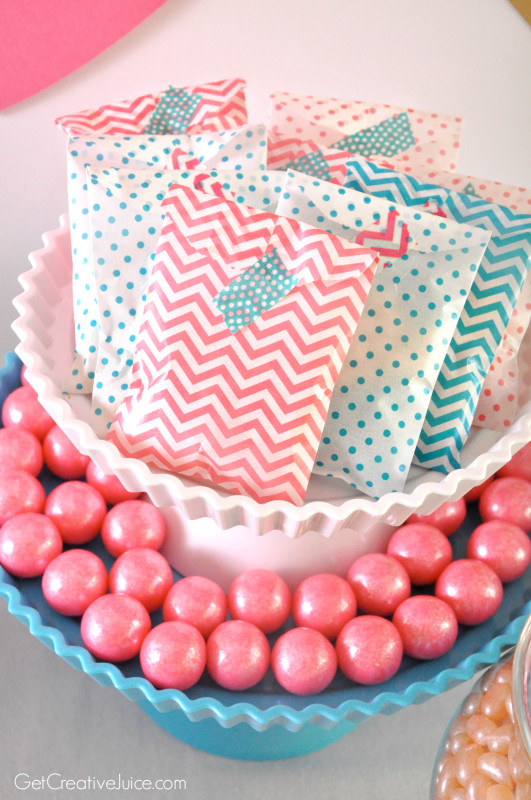 Pink and Blue glassine party favor bags