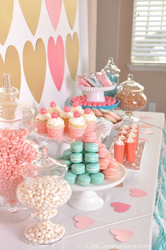 Teal, Pink, and Gold Dessert Table