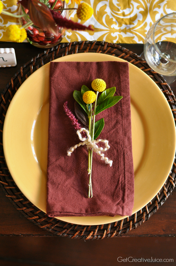 Holiday Centerpiece Tablescape - Cranberry and Mustard 2