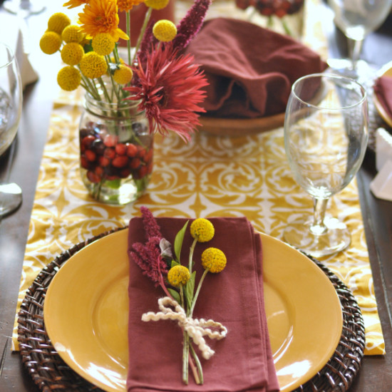 Cranberry & Mustard Holiday Tablescape