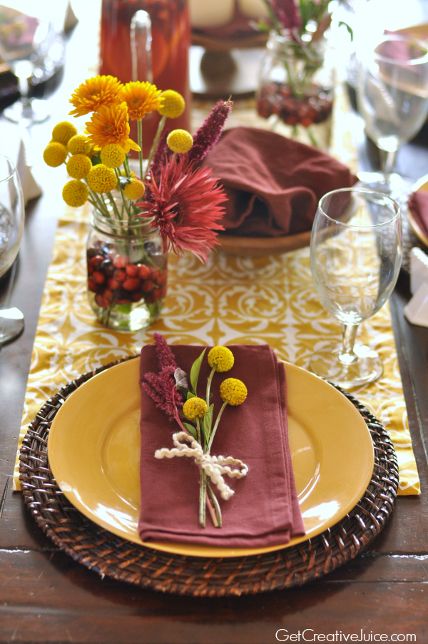 Holiday Centerpiece Tablescape - Cranberry and Mustard 5