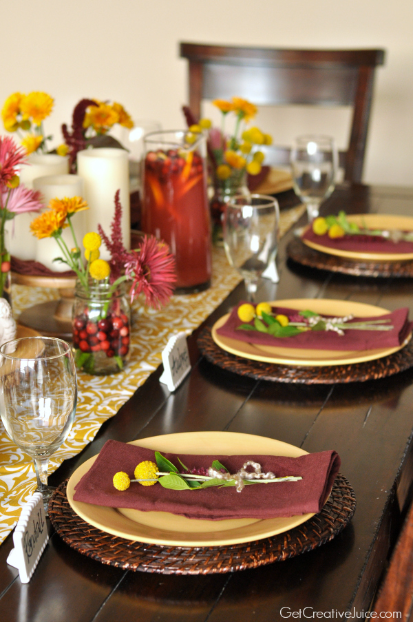 Cranberry And Mustard Holiday Tablescape