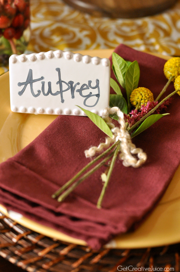 Holiday Centerpiece Tablescape - Cranberry and Mustard