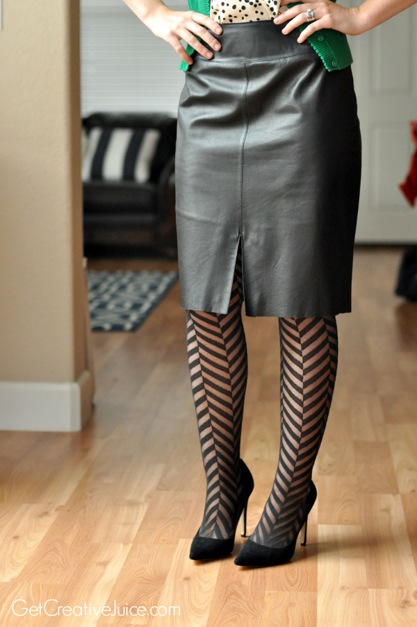 Outfit Inspiration - Black leather Knee length skirt paired with patterned tights