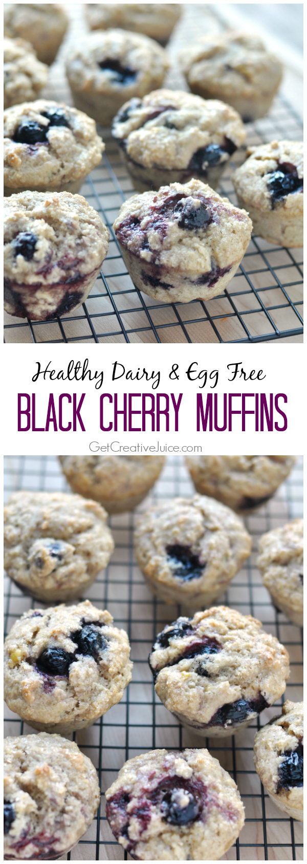 Healthy Dairy & Egg Free Black Cherry Muffins