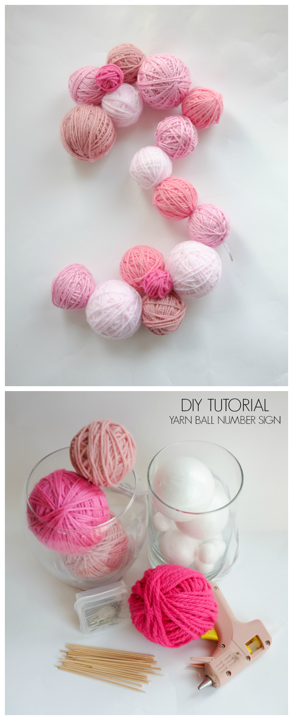 Yarn Ball Number Sign DIY tutorial