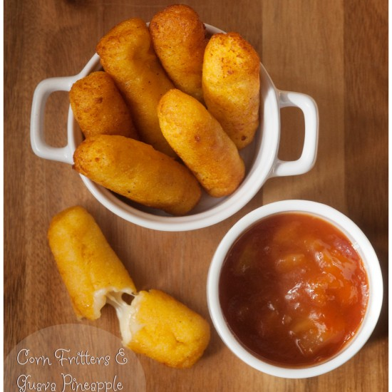 Corn Fritters With Cheese And A Guava Pineapple Sauce