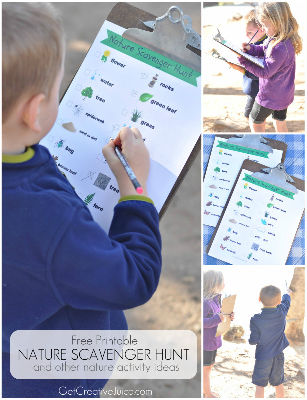 Free Printable nature scavenger hunt and other nature activities for kids