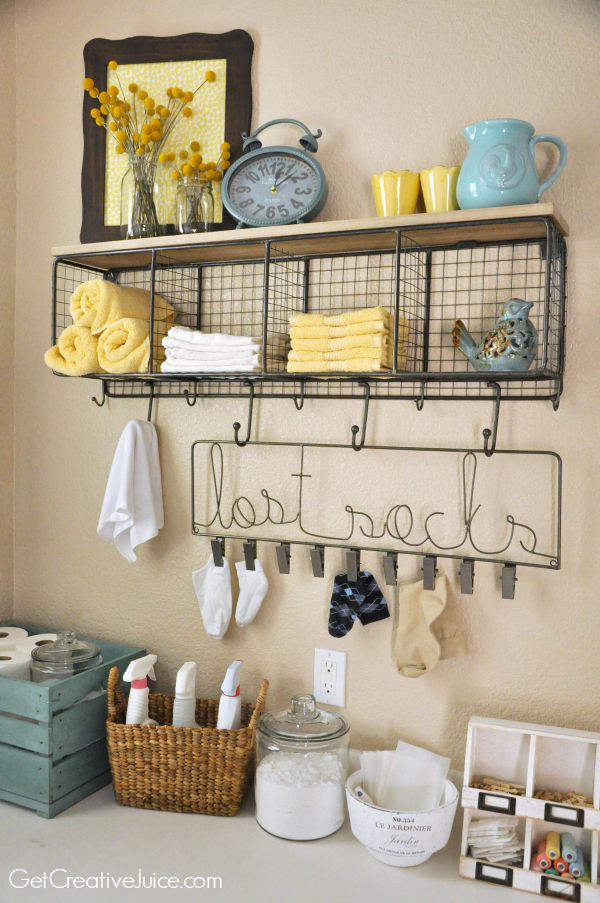 Laundry Room Ideas - yellow and blue - organization and decoration ideas