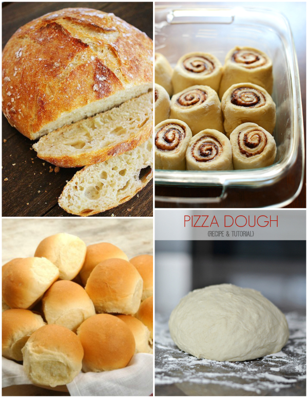 4 Favorite Bead Recipes from Pinterest - Artisan Bread, Cinnamon Rolls, Dinner Rolls, and Pizza dough