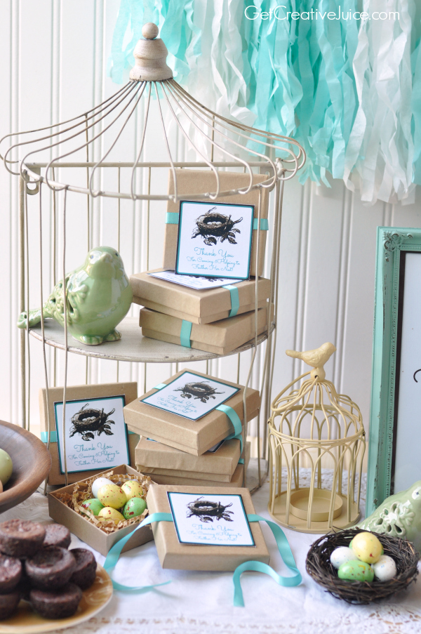Bird Baby Shower ideas with free printable favor tags