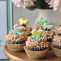 Birds Nest Cupcakes with sugar cookie birds and jelly bean eggs - chocolate and coconut