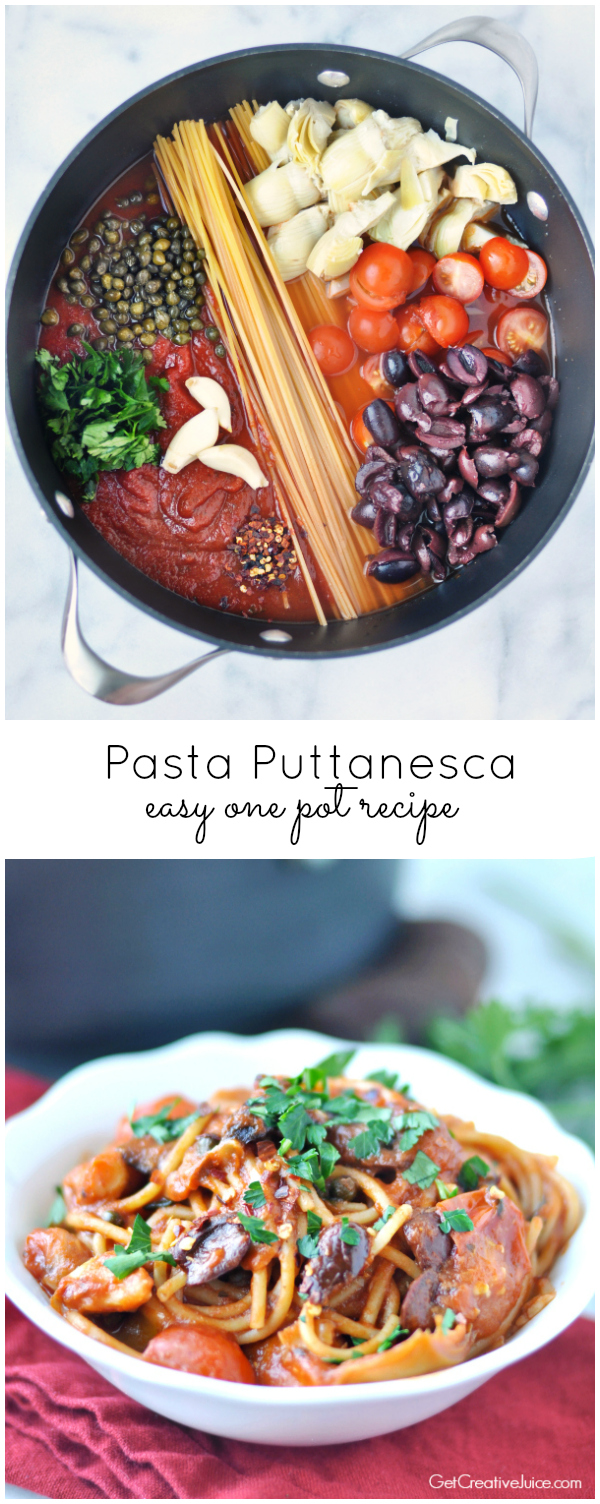 Easy One Pot Pasta Puttanesca with olives, capers, garlic, and spicy crushed red peppers