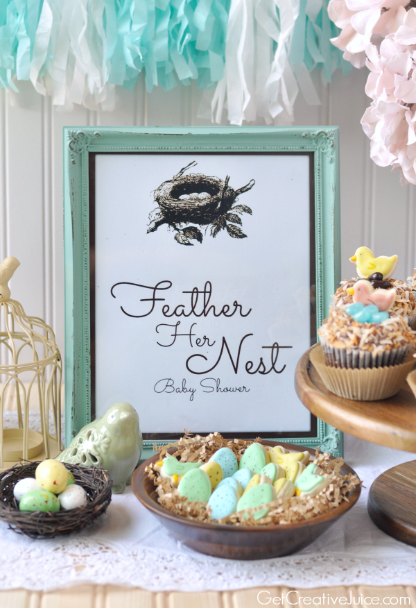 Feather Her Nest Baby Shower with Free Printables