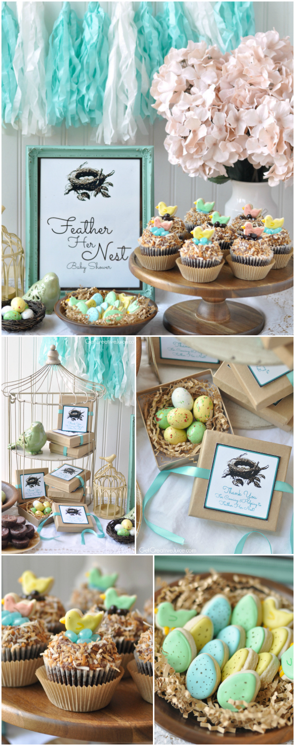 Little bird baby shower 'feather her nest' theme with free printables