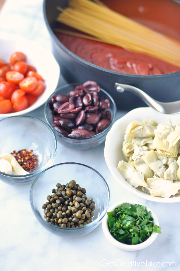 One Pot Pasta Puttanesca - red sauce with spicy red peppers, olives, capers, garlic