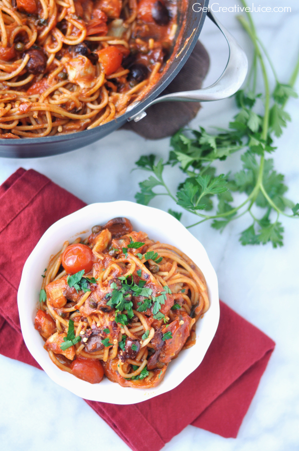 One Pot Pasta - easy puttanesca sauce with garlic, olives, capers