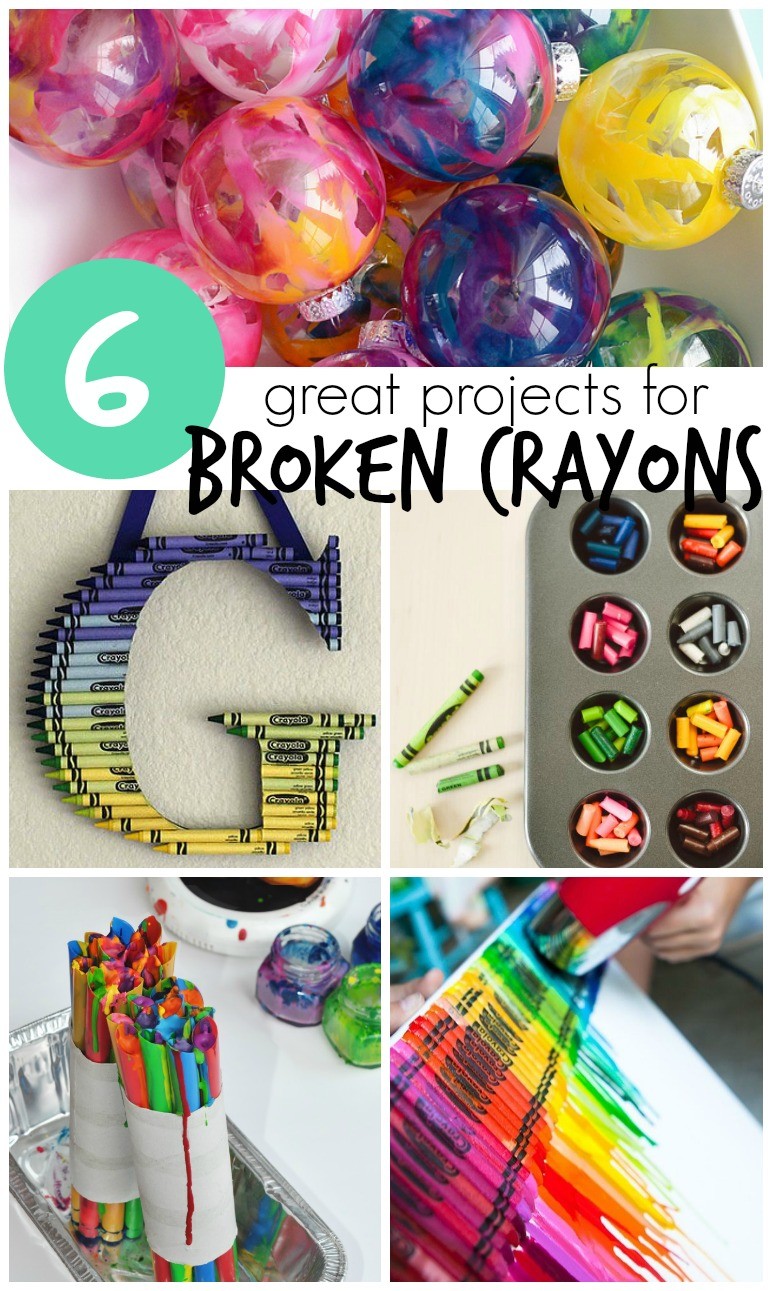 6 Broken Crayon Crafts & How To's