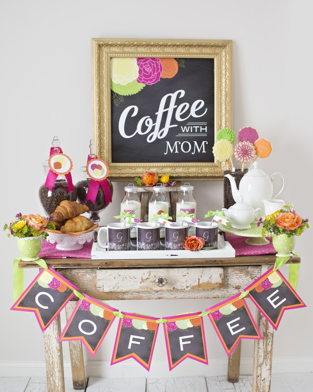 11 Mother's Day Coffee With Mom, Coffee Bar, Coffee With Mom Chalkboard backdrop, Monogrammed Mugs, Floral Arrangement in Mugs