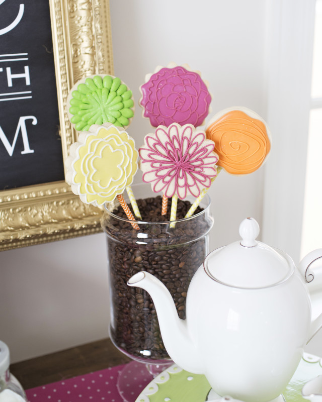 12 Mother's Day Coffee With Mom, Custom Flower Cookies on a Stick, Teapot, Coffee Beans in a Vase