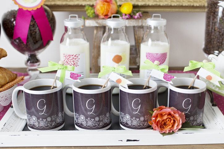 13 Mother's Day Coffee With Mom, Monogrammed Mugs, Milk in Plastic Jugs, Chalkboard mugs, Chalkboard Tray