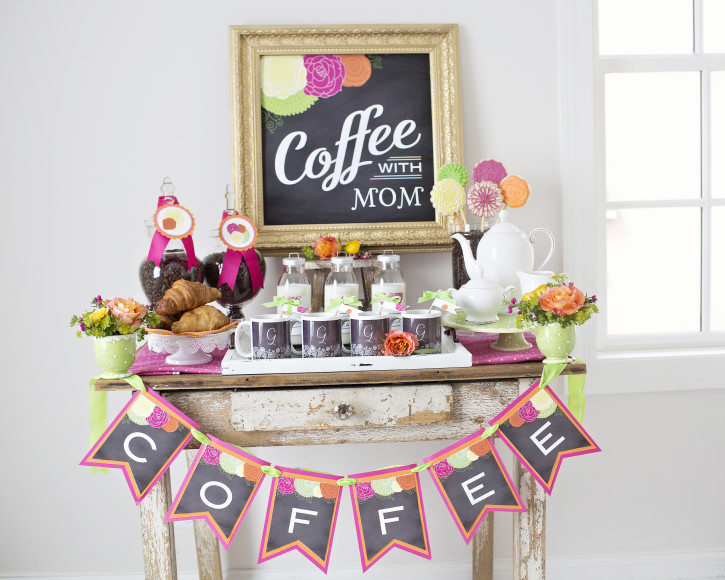 15 Mother's Day Coffee With Mom, COFFEE Banner, Table Set up, Coffee With Mom Chalkboard