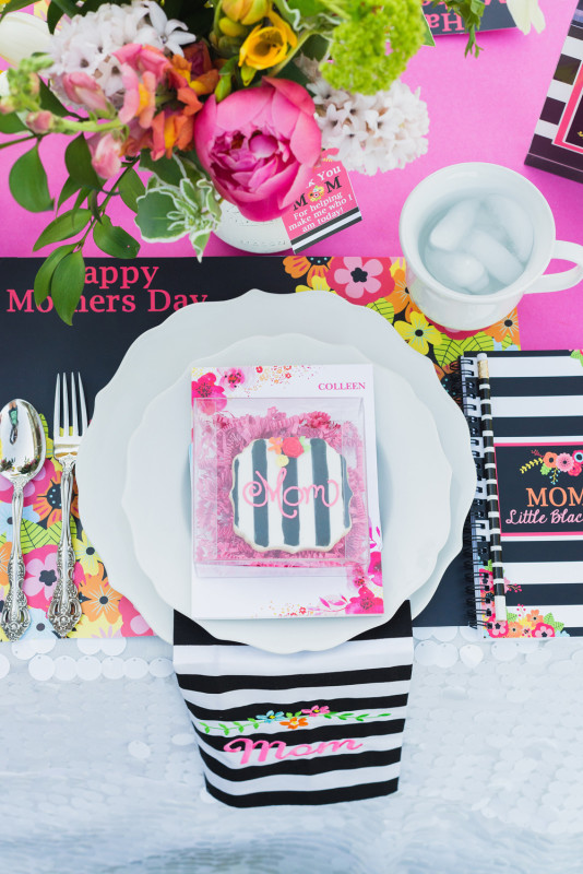21 Mother's Day Brunch, Place Settings, Black and White Stripes