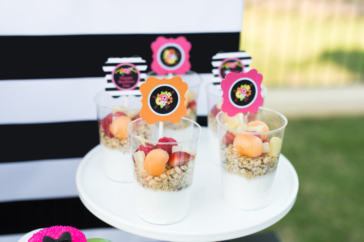 5 Mother's Day Brunch, Yogurt Parfait, Floral and black white toppers