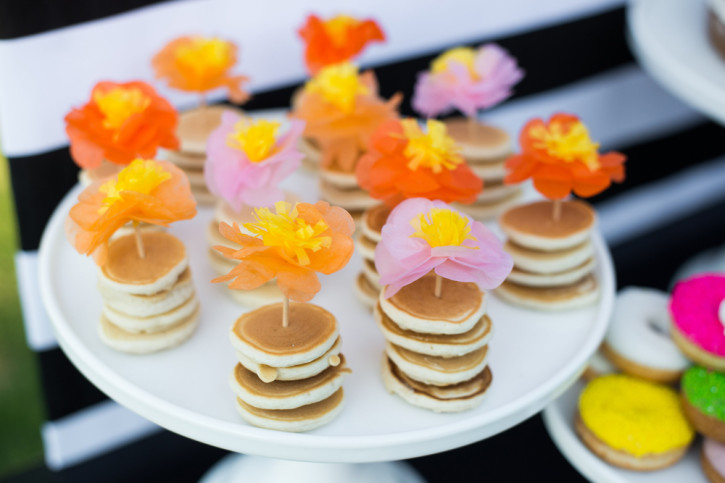 6 Mother's Day Brunch, Mini Pancakes, tissue flower picks