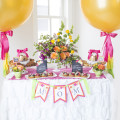 8 Mother's Day Coffee With Mom, Ruffled tablecloth, MOM Banner, 36 inch Balloons, Table set up