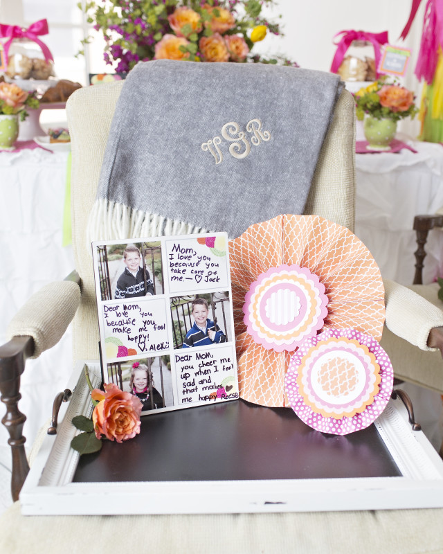 9 Mother's Day Coffee With Mom, Mother's Day Gifts, Monogrammed Blanket, Paper Pinwheels, Photo Frame, Chalkboard Tray