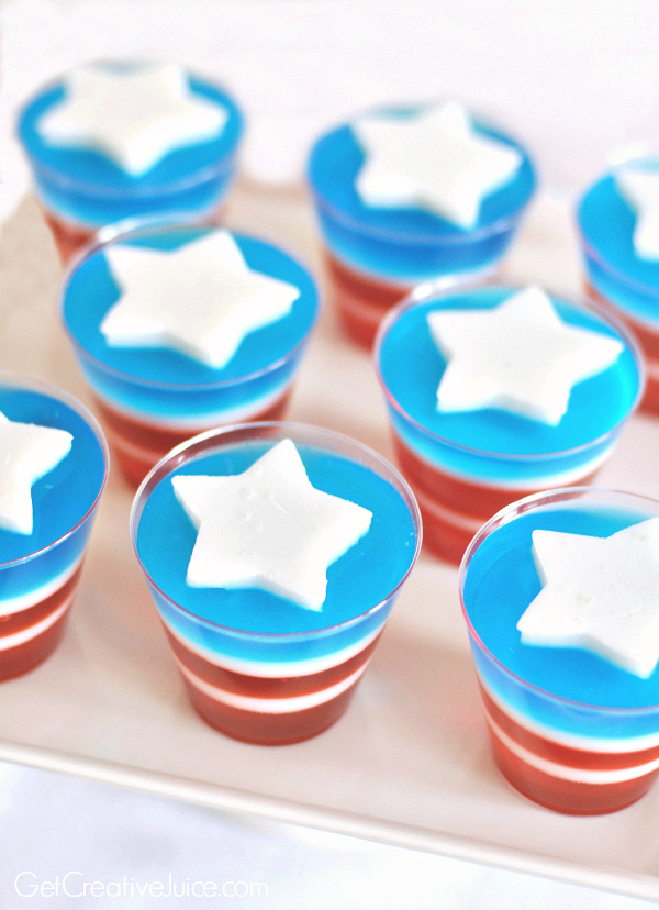 4th of July recipes - red white and blue Jell-O cups