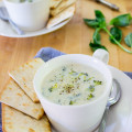 Broccoli Blu Cheese Soup with Basil and Shallots
