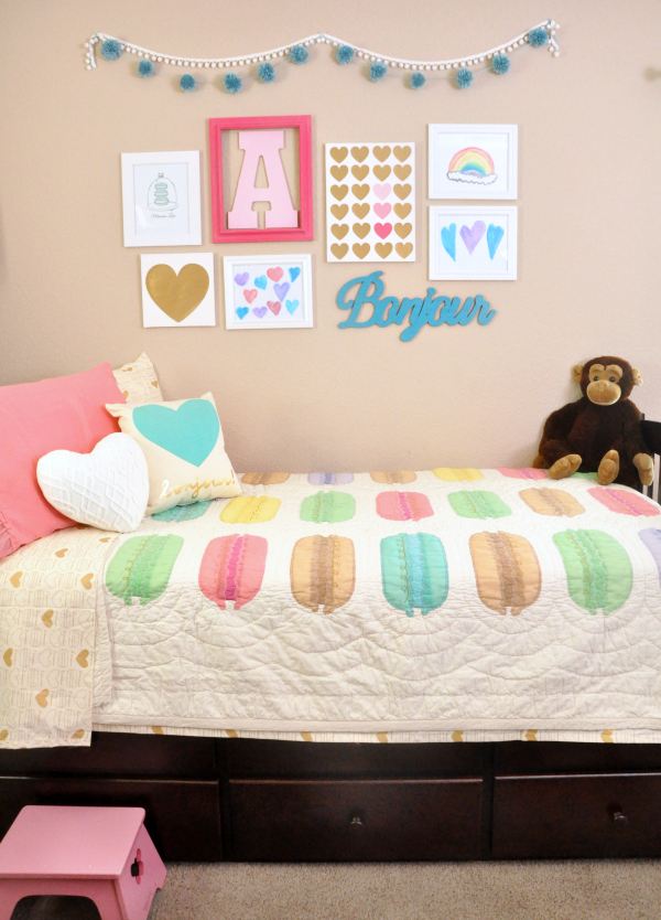 pink teal macaron heart themed girls room ideas 12888 | aubreys room1